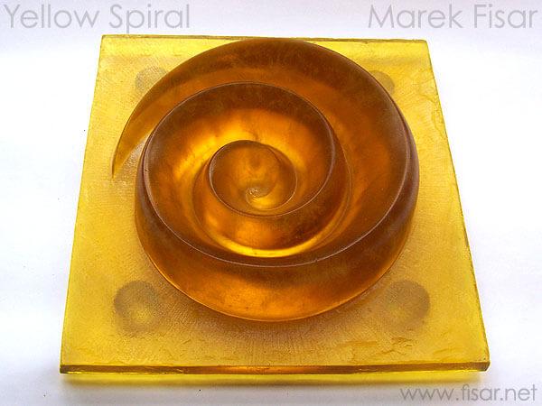 Yellow Spiral, glass sculpture, 30kg